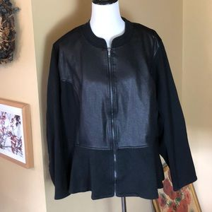 LANE BRYANT sz 28 Zip-Front Stretchy Leather $128